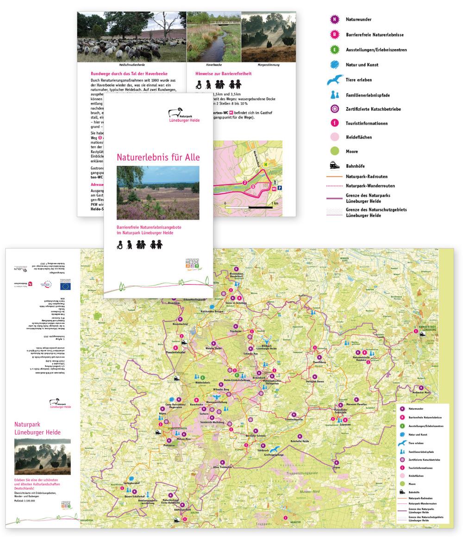 Infografik für barrierefreies Naturerleben im Naturpark Lüneburger Heide