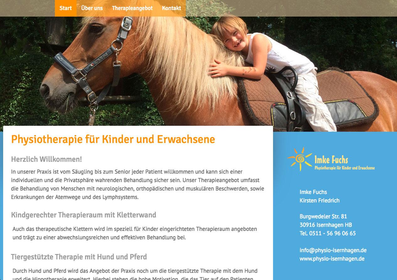 Internetauftritt Physiotherapie Praxis Isernhagen
