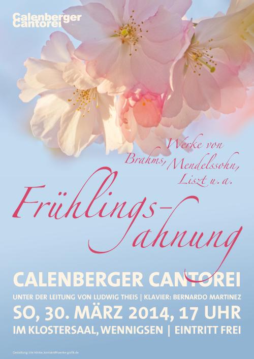 Plakat Calenberger Cantorei, Konzert Brahms und Mendelssohn