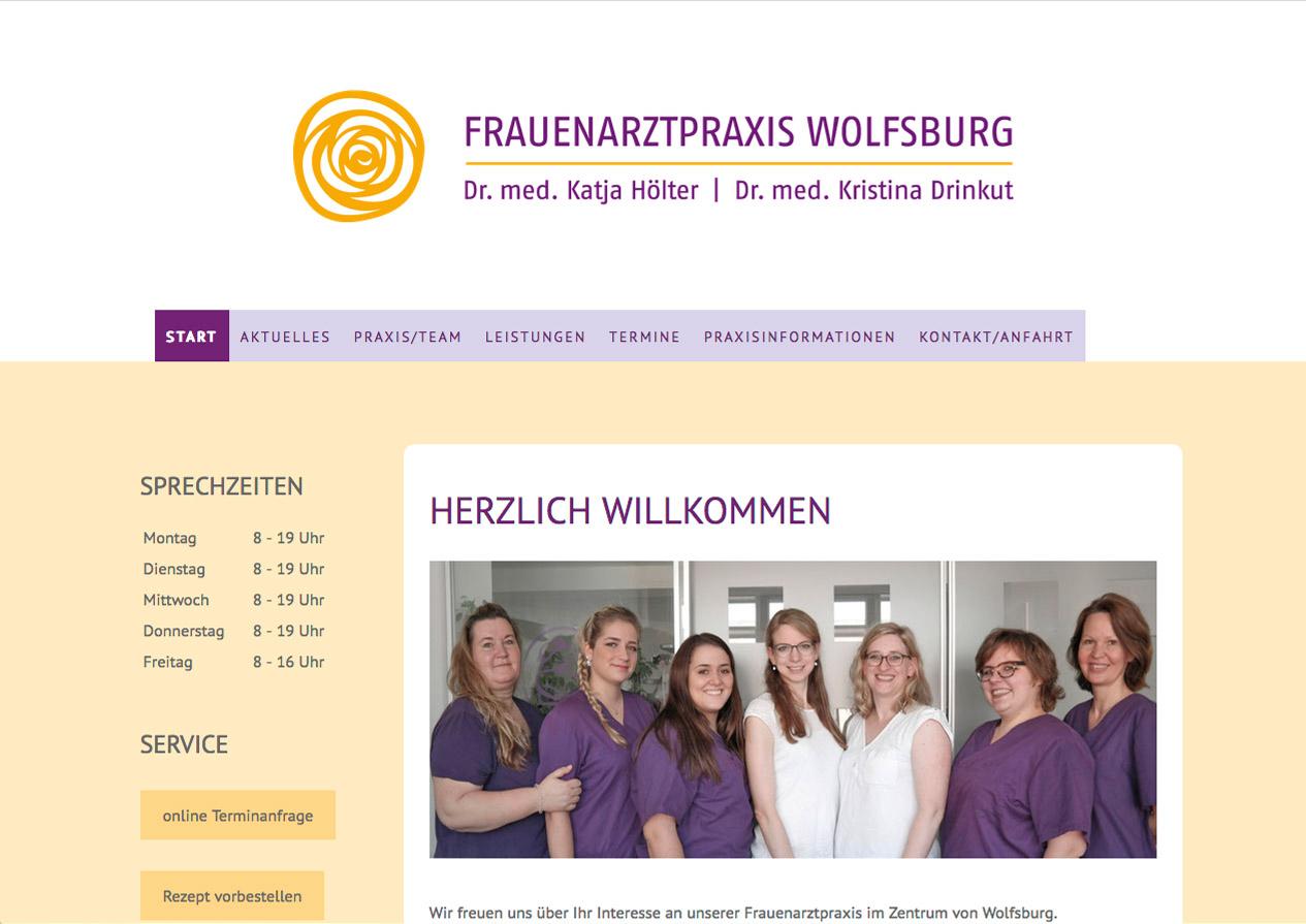 Praxishomepage Frauenarztpraxis Wolfsburg