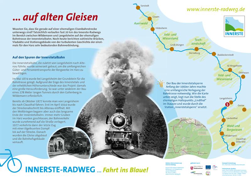 Infotafel am Innerste-Radweg: Die Innerstetalbahn