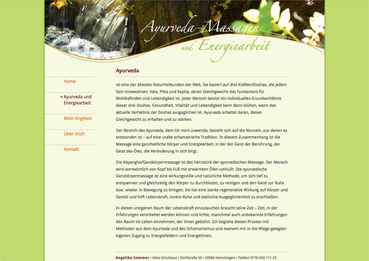 Website Ayurveda Massagen Hemmingen, Hannover