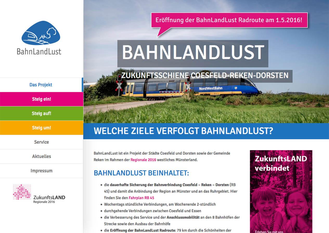 Internetseite des Vereins BahnLandLust