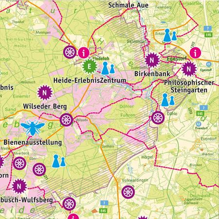 Piktogramme und Übersichtskarte für barrierefreies Naturerleben im Naturpark Lüneburger Heide