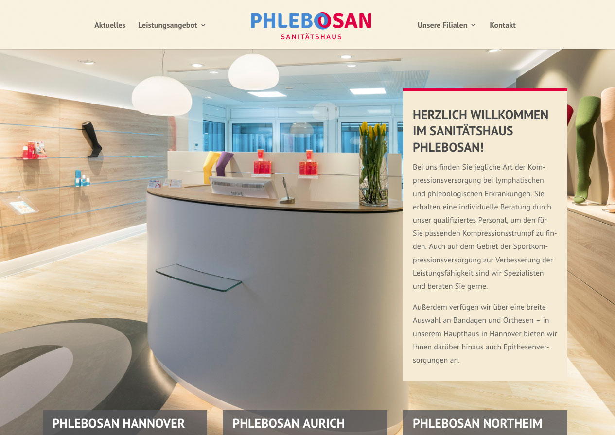 Internetauftritt Sanitätshaus Phlebosan