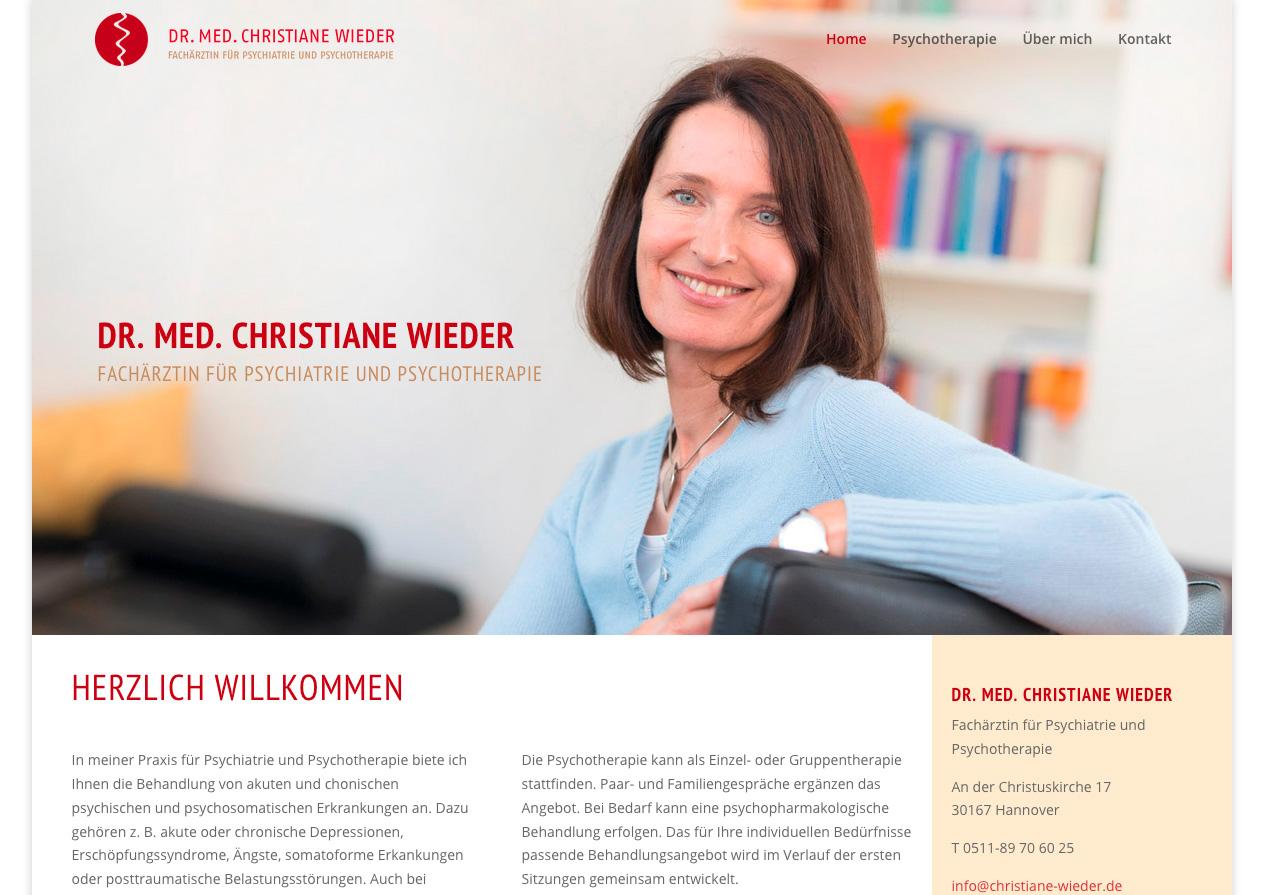 Internetauftritt Dr. med. Christiane Wieder