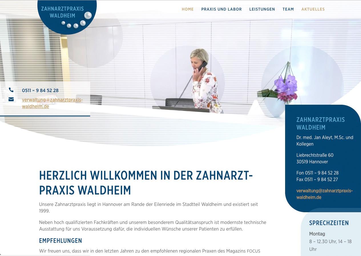 Internetauftritt Zahnarztpraxis Waldheim