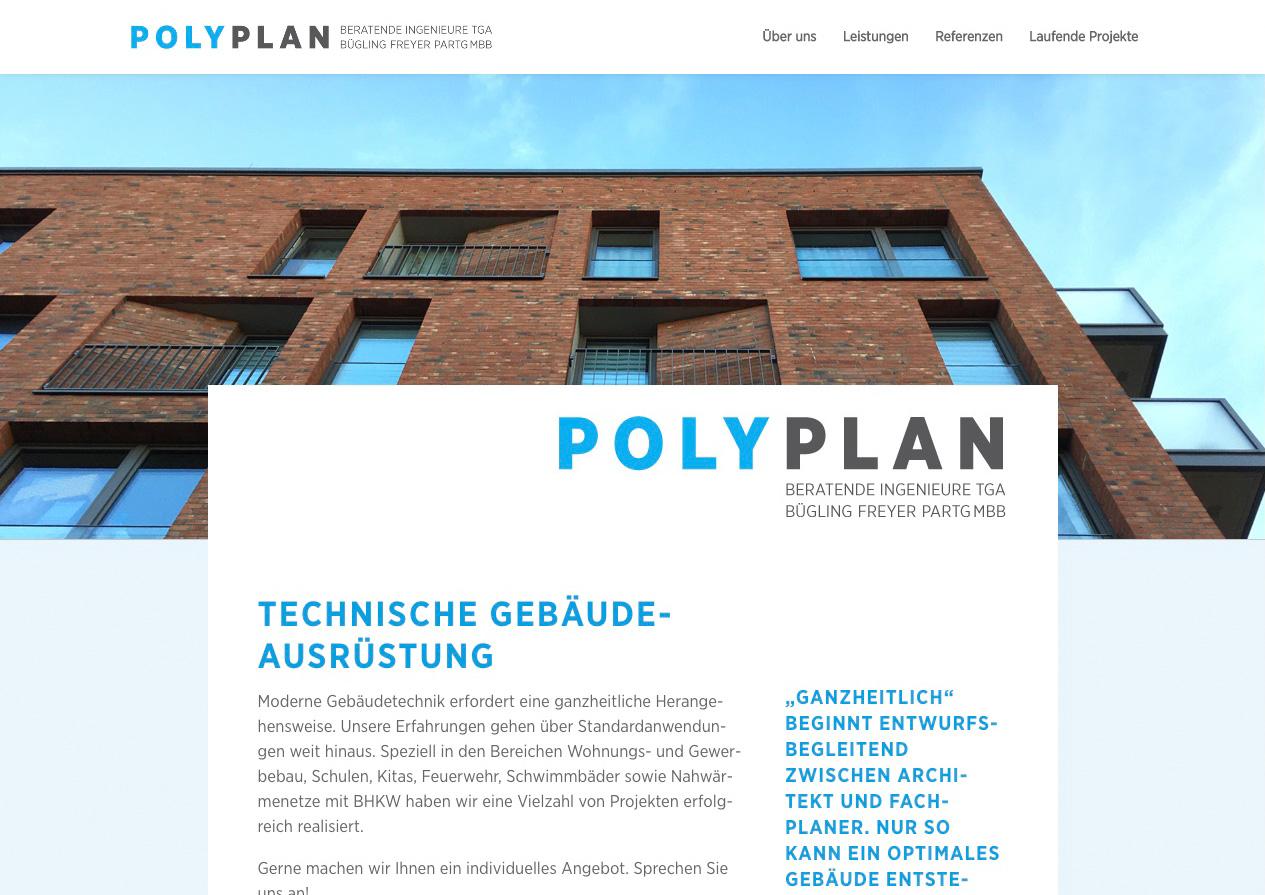 Internetauftritt Polyplan Technische Gebäudeausrüstung