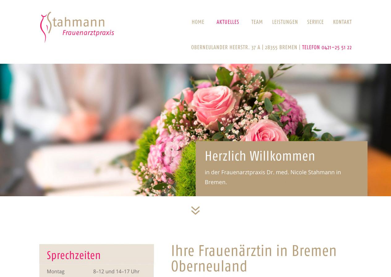 Internetauftritt Frauenarztpraxis Stahmann, Bremen