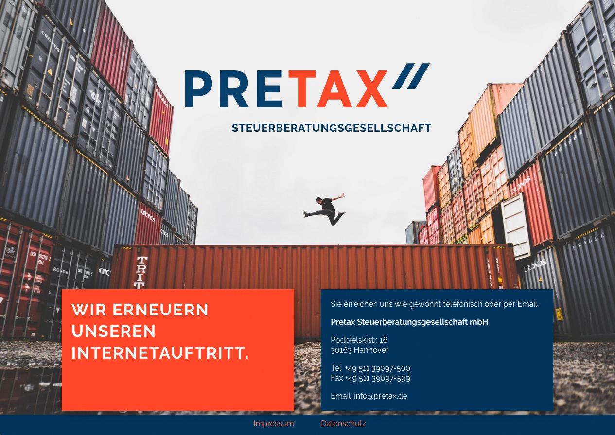 Internetauftritt Pretax Steuerberatungsgesellschaft mbH, hannover