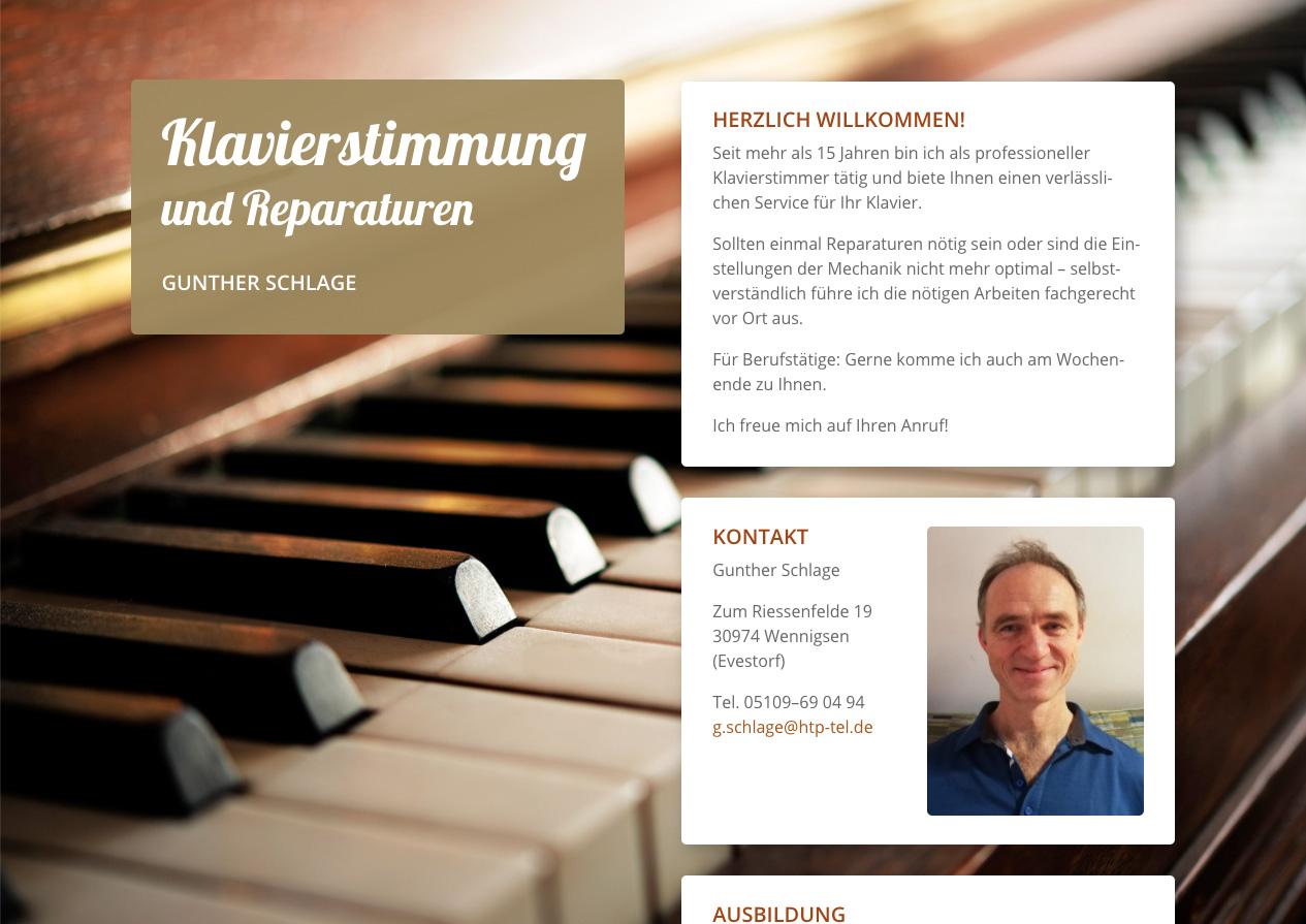 Internetauftritt Klavierstimmung Gunther Schlage, Wennigsen