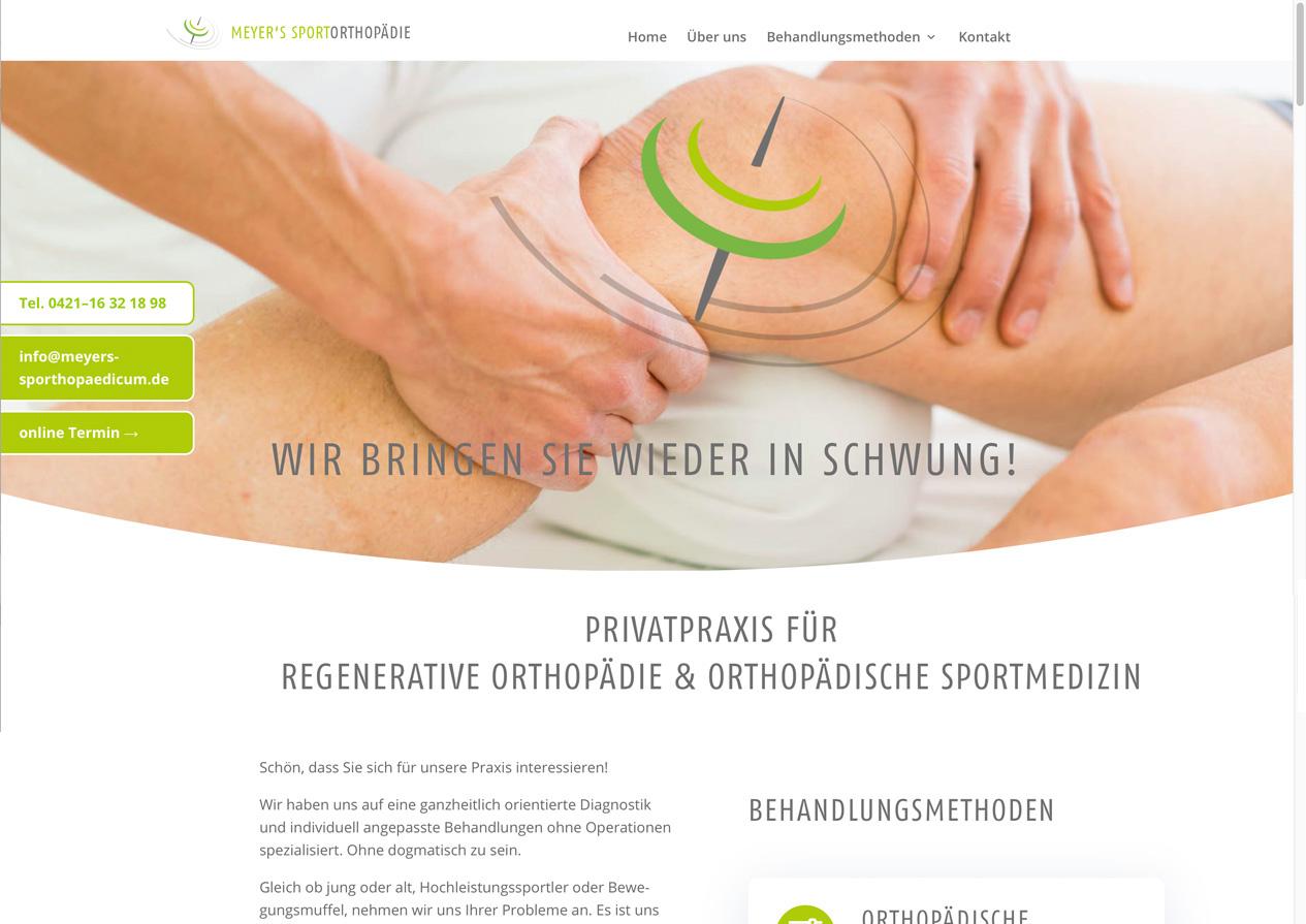 Internetauftritt Meyer's Sportorthopädie, Bremen