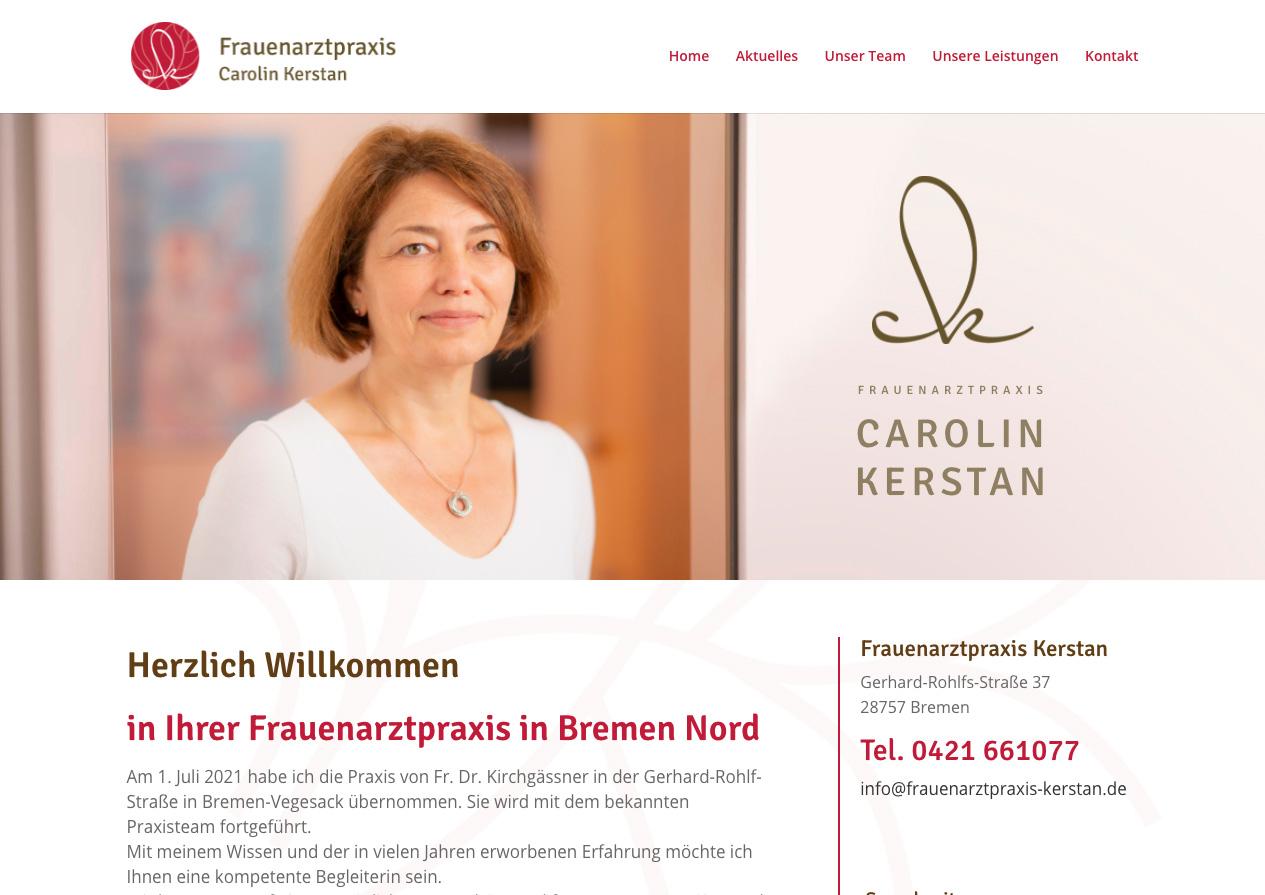 Internetauftritt Frauenarztpraxis Kerstan, Bremen